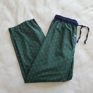 Tommy Hilfiger Men's Size Medium Green Flag Logo Pajama Lounge Pants Cotton