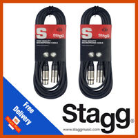 Stagg 2 x 6M Black XLR Male to Female Microphone Lead & Audio Signal Cable Pack