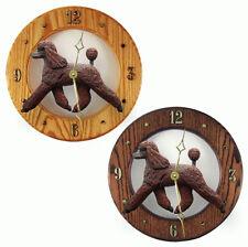 Poodle Wood Wall Clock Plaque Brn