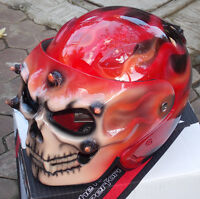Custom Motorcycle Helmet Skull Skeleton Death Flames  Ghost Rider Visor DOT