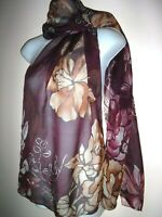 VINCE CAMUTO SILK SCARF Shawl Sheer Floral Maroon Tan Rectangular 70 x 17""