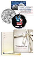 PEACE SIGN PATRIOTIC Keepsake Gift JFK Kennedy Half Dollar US Coin