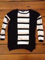 Black Rivet Stripe Cotton Blend Womens Long Sleeve Punk Style Knit Top Shirt S