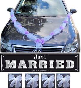 Autodekoration Autoschmuck Hochzeitsauto Autodeko Autogirlande 10tlg - Weiß/Lila