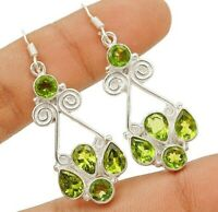 6CT Peridot 925 Solid Sterling Silver Earrings Jewelry, CD27-6