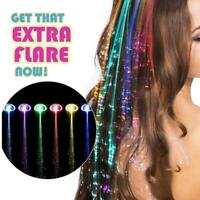 Light-Up Fiber Optic LED Hair Braid Clip Colorful Wigs Christmas Party Decor