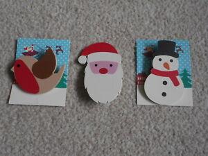 ROBIN, SNOWMAN, SANTA lot of 3 wooden badge/brooch, bar pin CHRISTMAS