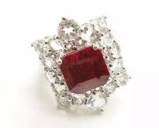 Vintage Sterling Silver Red Ruby & CZ Cocktail Ring Size 6 Huge Statement