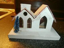 vintage cardboard christmas church /house for village japan