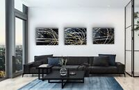 ORIGINAL HAND PAINTED ABSTRACT SET By Diane Plant 81 x 61cm Box Canvas Acrylic