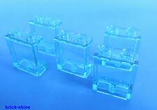 LEGO 1x2x2 Finestra / Vetro blu trasparente / 5 Pezzi