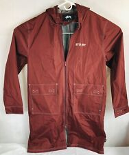 Rare Stussy Jacket Size Sz XL Maroon  mens Rain Coat Jacket Waterproof Long