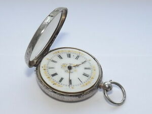 ANTIQUE LADIES JEWELLED SOLID SILVER SWISS POCKET WATCH, FOB WATCH, c1890