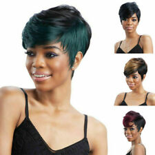 Real Remy Pixie Hair Full Wig Natural Short Cut Wavy Ombre Black Modern Style US
