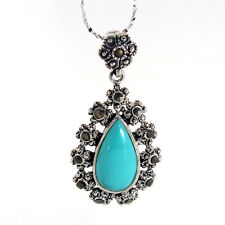 GENUINE BLUE TURQUOISE MARCASITE NECKLACE 925 STERLING SILVER + CHAIN