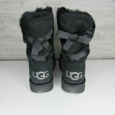 UGG WOMEN'S CLASSIC BLING SHORT SWAROVSKI LOGO BLACK BOOTS US 11