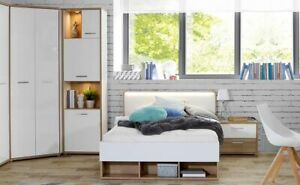 Jugendzimmer Clay 24 weiß Hochglanz Eiche 4-teilig Schlafzimmer Bett Nako LED