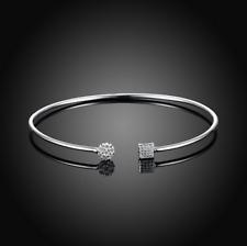 Womens 925 Sterling Silver CZ Crystal Love Cuff Open Bangle Bracelet #BR414