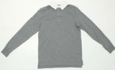New listing Goodfellow Men's Long Sleeve Cotton Rugby Polo Shirt Solid Gray / White Sz S NWT