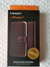 Iphone 7 leather flip case Spigen Darkbrown