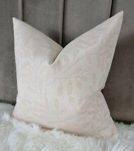 """16""""x16"""" LOIS John Lewis Leaf Trail Fabric Cushion Cover  Natural Beige"""