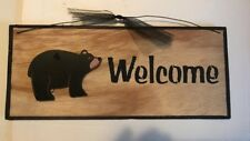 WELCOME BLACK BEAR  country kitchen lodge wall home decor plaque wood Sign 12x4""