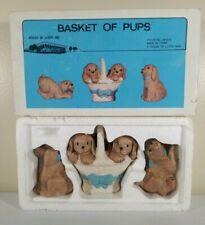 1990 House Of Lloyds Basket Of Pups 3 Piece Figure Set Hand Painted Vintage