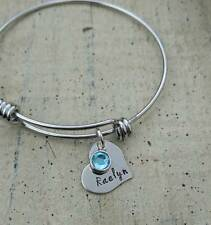 Personalized Child Name Birthstone charm bangle bracelet Daughter MOM Son