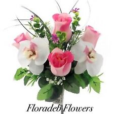 ARTIFICIAL SILK FLOWERS  7 HEAD ROSEBUD ORCHID MIXED BUSH PINK/CREAM & FOLIAGE