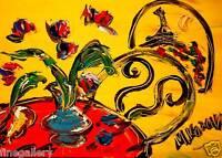 Mark Kazav Red  Flowers & Pear Original  Impressionism Oil Painting