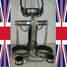 Chastity Belt Device black cage with thigh bands collar, ankelts & bra, Male SET