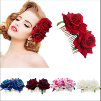 Vintage Wedding Bridal Rose Flower Barrette Hair Pins Bridesmaid Clips Side Comb