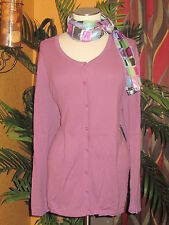 LORD AND TAYLOR NWT $80 2X purple 100% cotton cardigan women's sweater