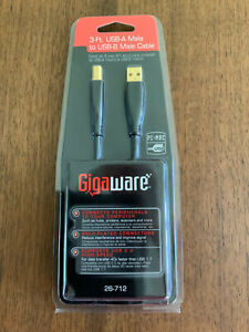 GIGAWARE 3-FT. USB-A MALE TO USB-B MALE CABLE GOLD ENDS # 260-0712 NEW
