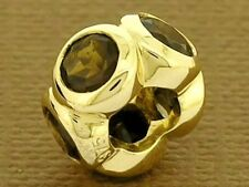 Bd039- Authentic 9ct Solid Gold NATURAL Smokey Quartz Rondelle Bead Brown