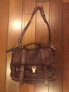 Proenza Schouler Brown/Burgandy Leather PS1 Messenger Bag Large