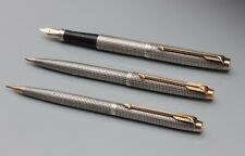 PARKER 75 .VINTAGE SET. PEN, PEN AND PENCIL. SILVER MADE IN USA