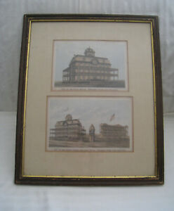 """PAIR RARE VINTAGE 1869 A. BROWN LITHOS TROY NY """"PROSPECT PARK FAIR GROUNDS 'VIEW"""