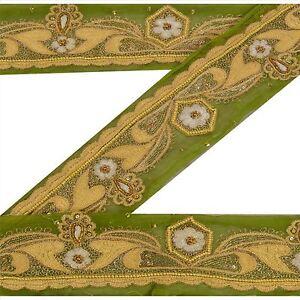 Sanskriti Vintage Green Sari Border Hand Beaded Indian Craft Trim Sewing Lace