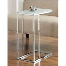 Sofa End Table Chrome Glass Top Tray TV Modern Coffee Snack Room Den Chair Food