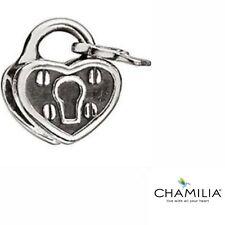 Genuine Chamilia silver cham 925 padlock heart & key bracelet charm GA-1