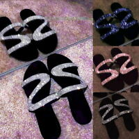 Womens Bling Rhinestone Sandal Shoes Summer Flat Open Toe Slides Slipper Shoes R