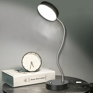 360° Flexible Arm LED Desk Lamp with Switch Study Reading Metal Table Light