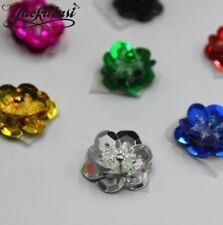 UK 20 COLOURS SEQUIN Flower 2cm Sew On Applique Costume Dance Knitting rose Trim