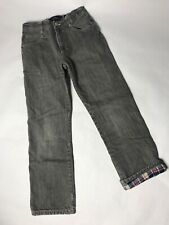 Mini Boden Boys Denim Warm Flannel Lined Gray Jeans Pants Sz 11 Y Red White Blue