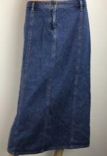 Womens 10 P Blue Denim Long Modest Slit  Jean Cotton Skirt Casual Corner Annex