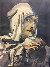 Expressionnisme portrait d'un cupide signé S Loeb milieu XXe