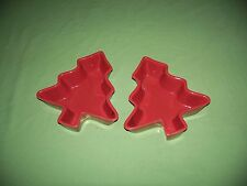Lot of 2 Nantucket Christmas Tree Bowls Red Trees Candy or Nut Dishes Ceramic
