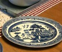 "Johnson Bros England WILLOW BLUE 14"" Oval Serving Platter Vintage"