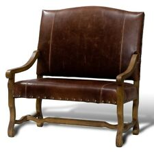 "47"" H Settee Italian leather brown brass solid oak frame hand carved 17682RSGM"